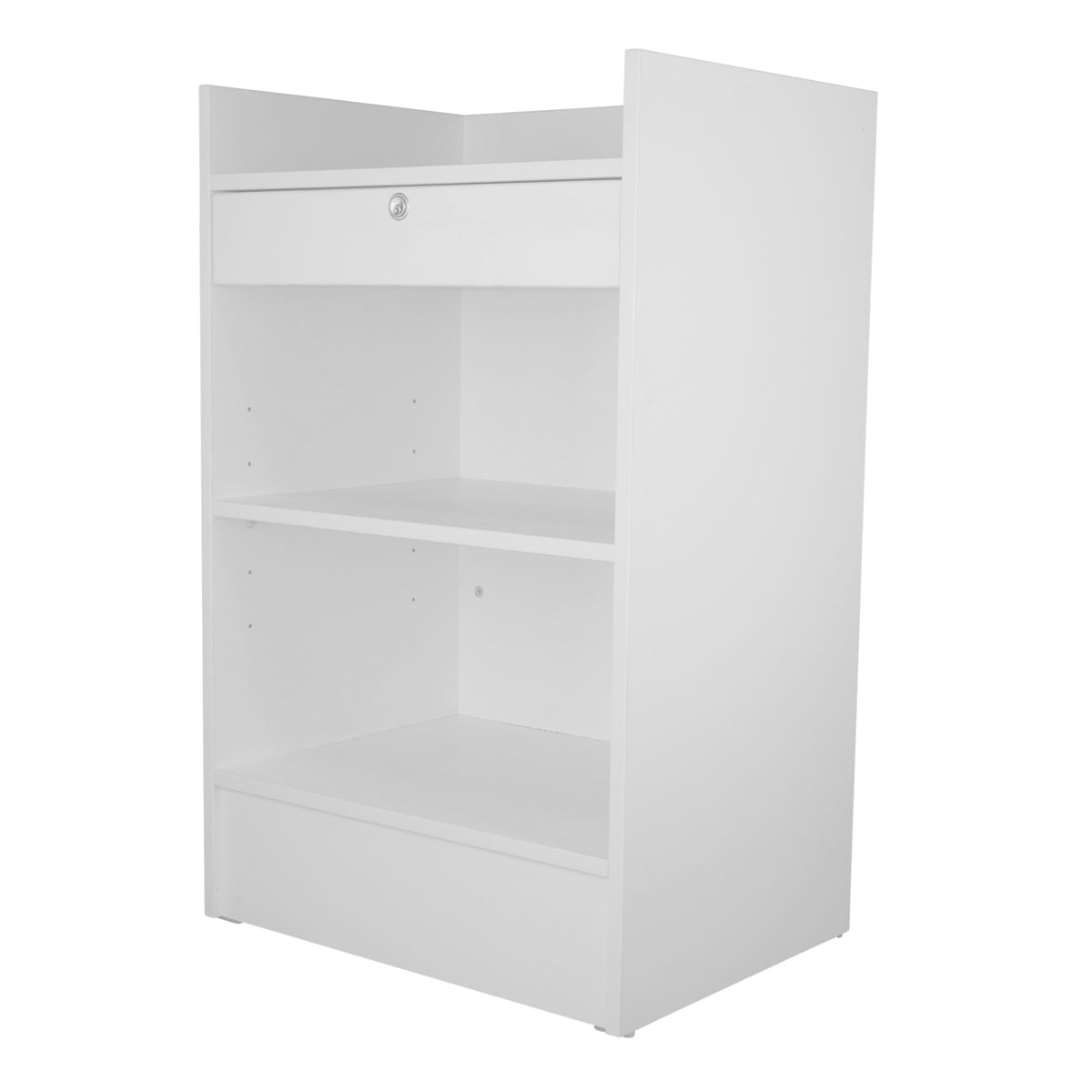 white retail counter with lock