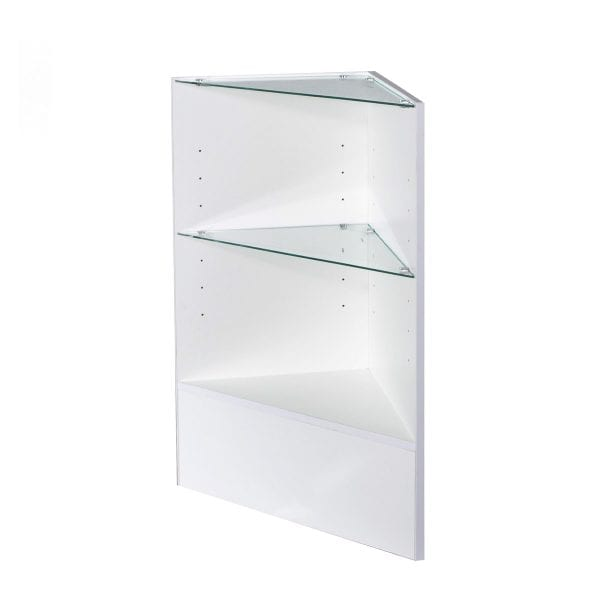 corner counter with glass shelving