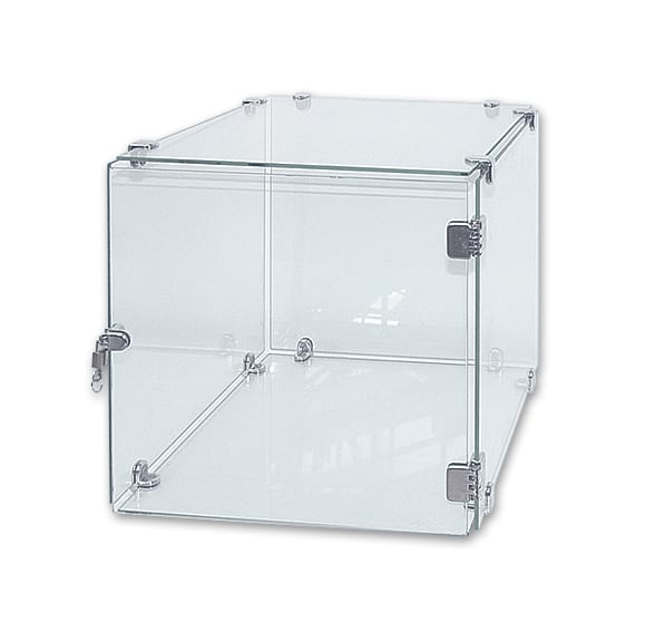 glass cube display box with lock