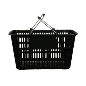 black plastic shopping basket