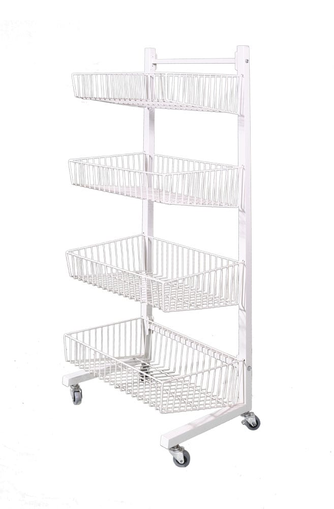 4 Tier Basket Stand On Wheels-0