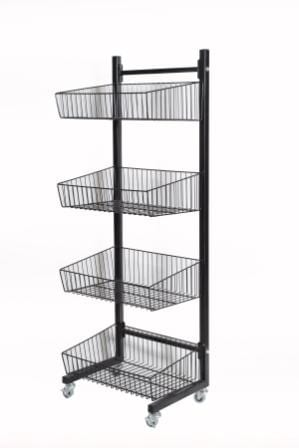 4 Tier Basket Stand On Wheels-1383