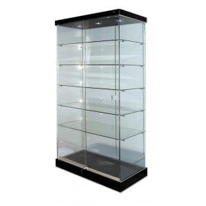 Glass Display Cabinet on Castors - Black Top -0