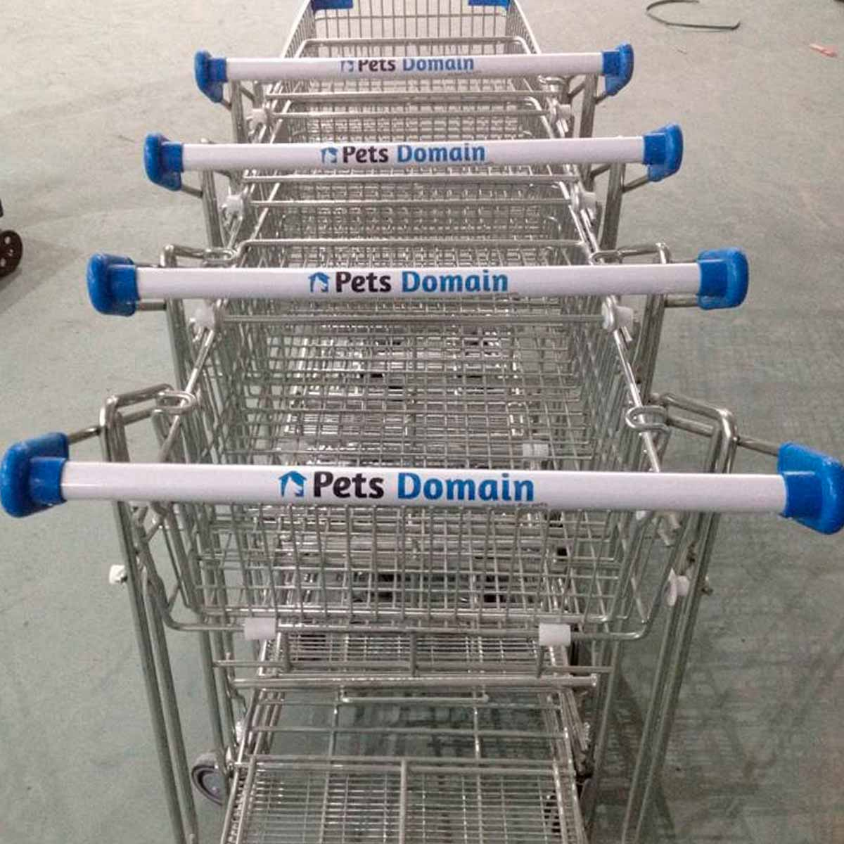 shopping trolleys with logo and corporate colours