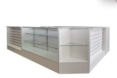 white modular counter with different lay outs
