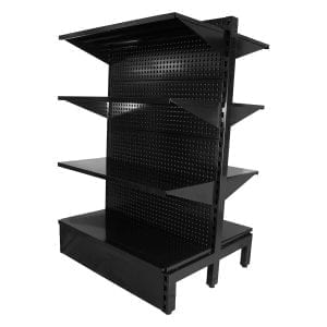 three level retail shelving black