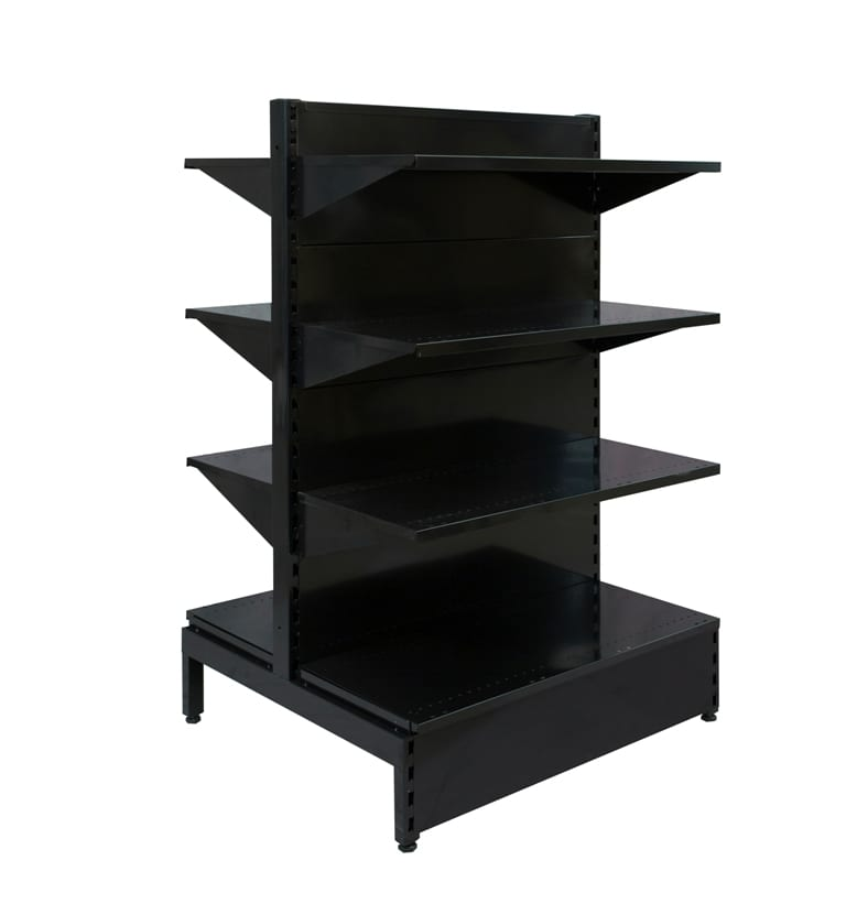 double sided black gondola shelving