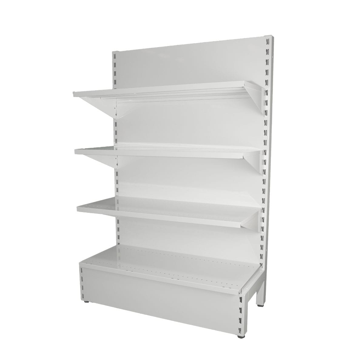 three level white gondola shelving system