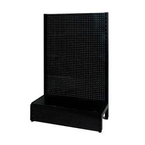 single sided black pegboard shelving system