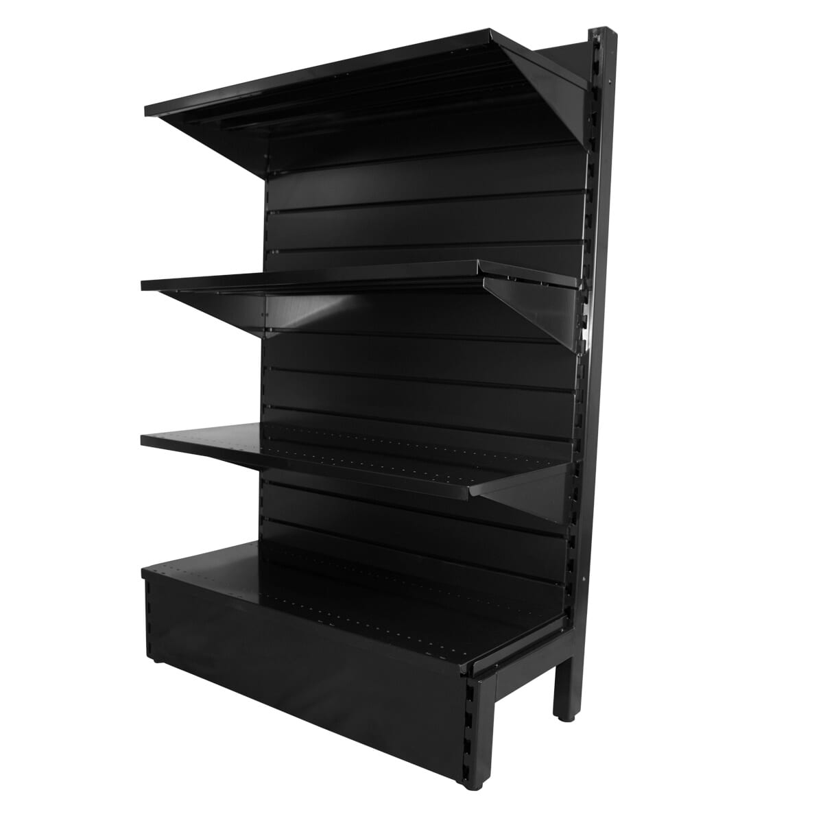 three level black shelving system