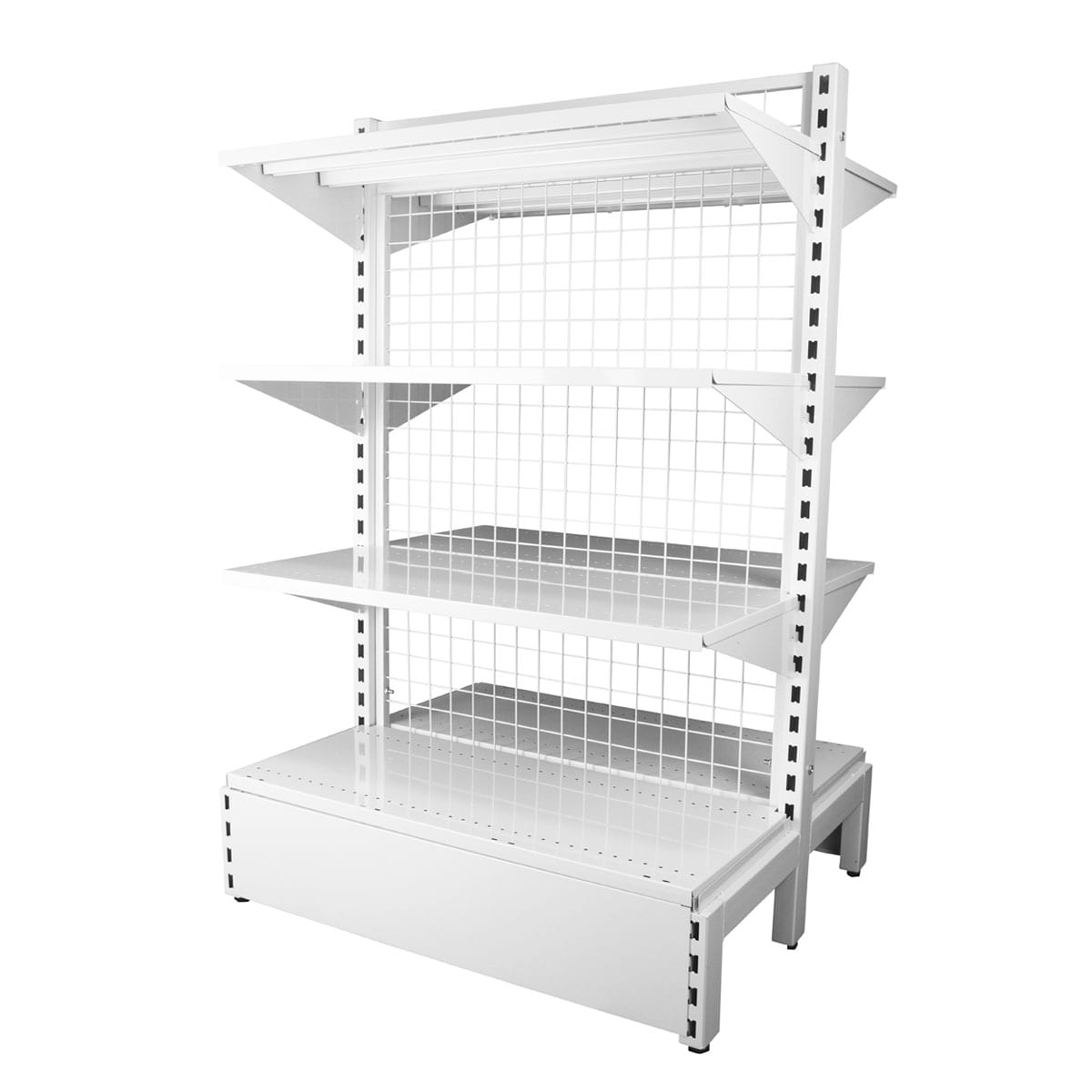 double sided white mesh back shelving