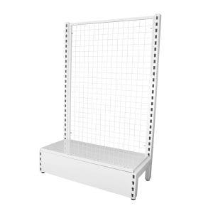 white mesh gondola shelving