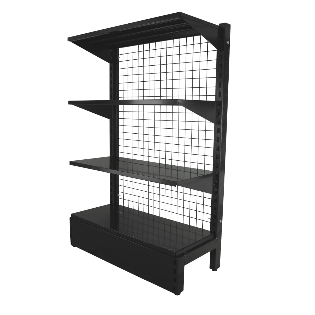 black slat grid gondola shelving