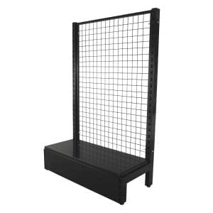 black shelving mesh grid