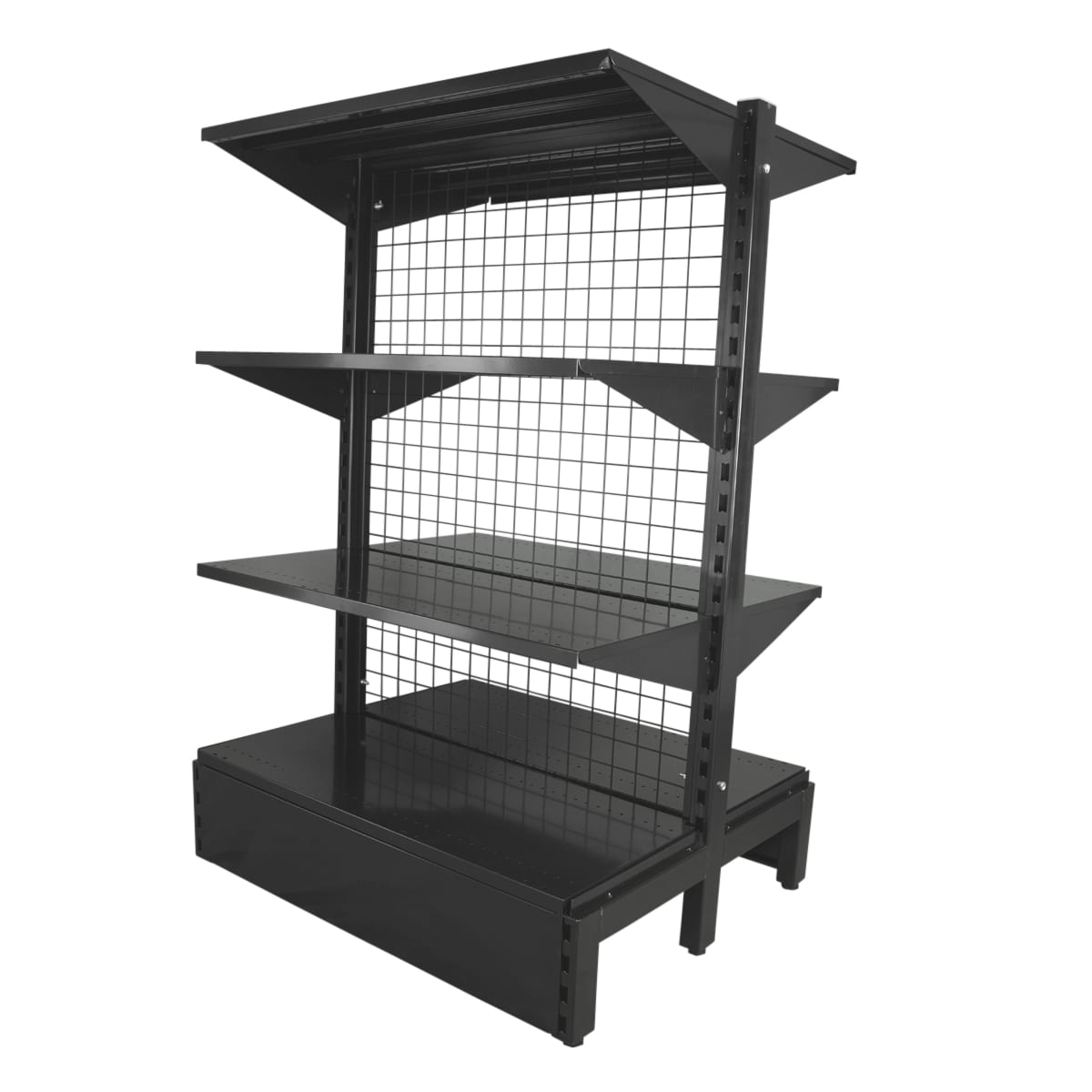 double sided shelving system black