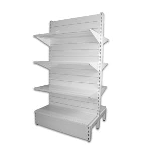 metal slatwall shelving white