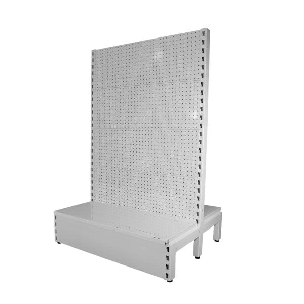 white metal pegboard shelves