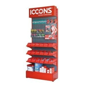 branded shelving with corporate logo and colours