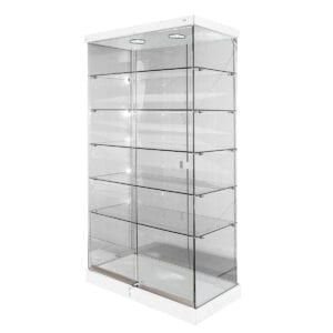 retail glass display case with lock with double sliding doors and 5 shelf levels