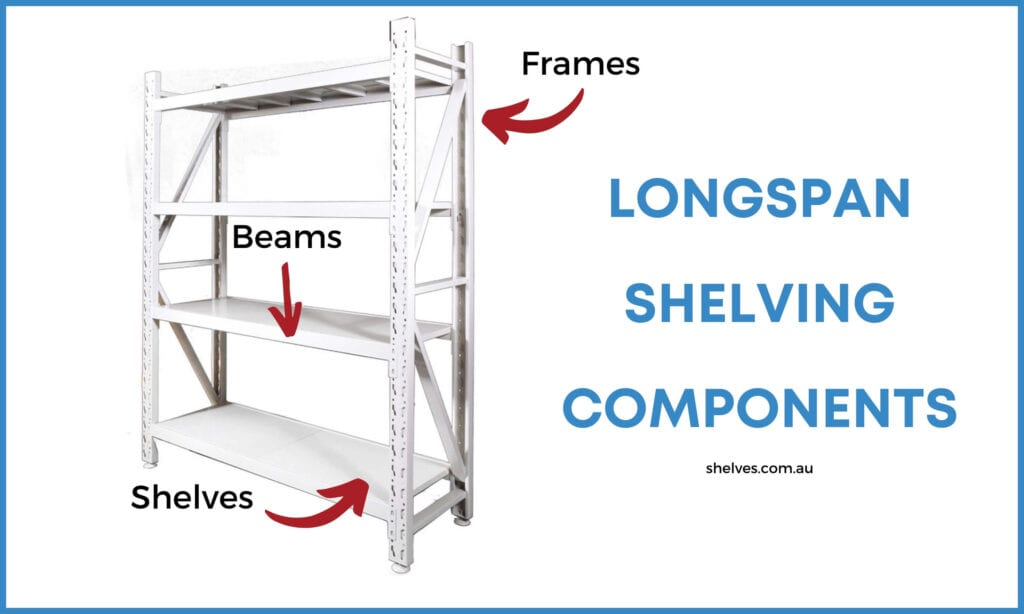 longspan shelving unit in white with 3 shelf levels
