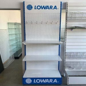 white and blue custom shelving display for retail